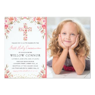 First Holy Communion Girl Floral Cross Photo Invitation