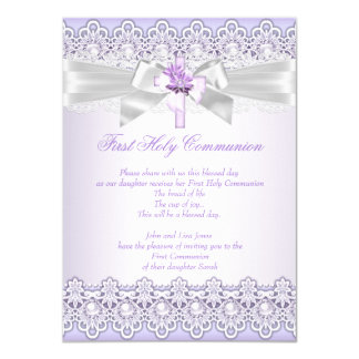 First Holy Communion Girls Cross Lavender Purple 11 Cm X 16 Cm Invitation Card