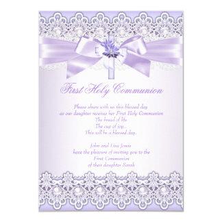 First Holy Communion Girls Cross Lavender Purple 2 11 Cm X 16 Cm Invitation Card
