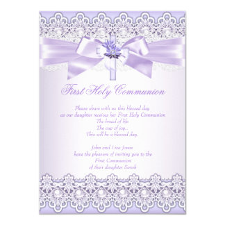 First Holy Communion Girls Cross Lavender Purple 2 Card