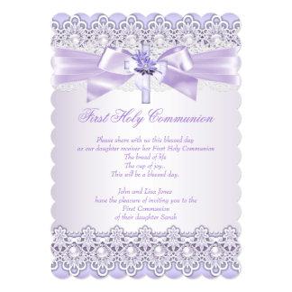 First Holy Communion Girls Cross Lavender Purple 2 13 Cm X 18 Cm Invitation Card