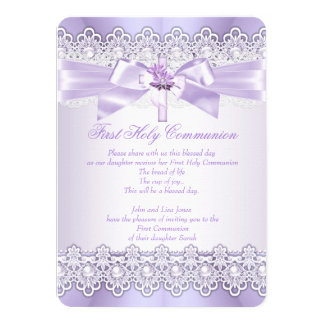 First Holy Communion Girls Lilac Lavender Purple 11 Cm X 16 Cm Invitation Card