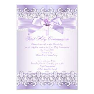 First Holy Communion Girls Lilac Lavender Purple 13 Cm X 18 Cm Invitation Card