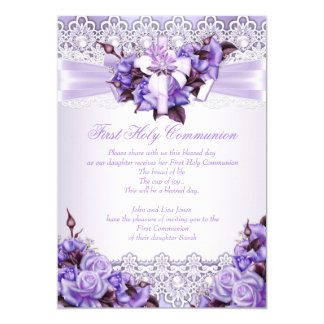 First Holy Communion Girls Lilac Lavender Purple 2 13 Cm X 18 Cm Invitation Card