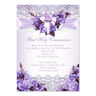 First Holy Communion Girls Lilac Lavender Purple 2 11 Cm X 16 Cm Invitation Card