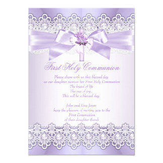 First Holy Communion Girls Lilac Lavender Purple Card