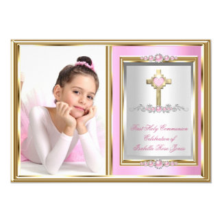 First Holy Communion Girls Pink Pearl Photo 13 Cm X 18 Cm Invitation Card
