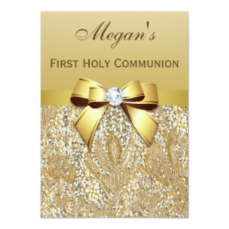 First Holy Communion Gold Sequins, Bow Diamond 13 Cm X 18 Cm Invitation Card