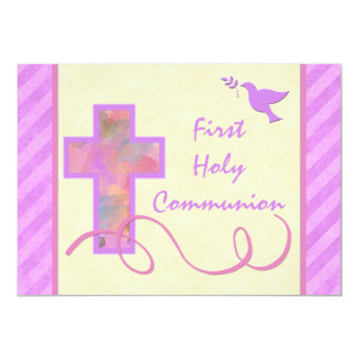 "First Holy Communion Invitation for a Girl 5"" X 7"" Invitation Card"