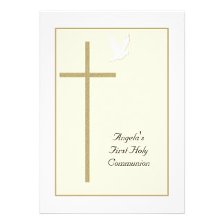 First Holy Communion Invitations -- Cross Dove Card