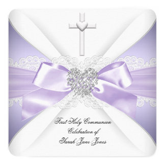 First Holy Communion Lavender Silver Heart Girl 5.25x5.25 Square Paper Invitation Card