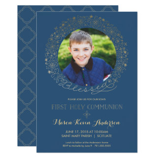 First Holy Communion Photo Invitation, Boys Invite