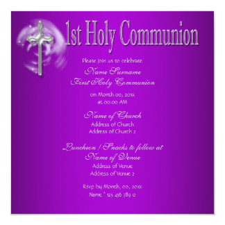 """First holy communion pink gray 5.25"""" square invitation card"""