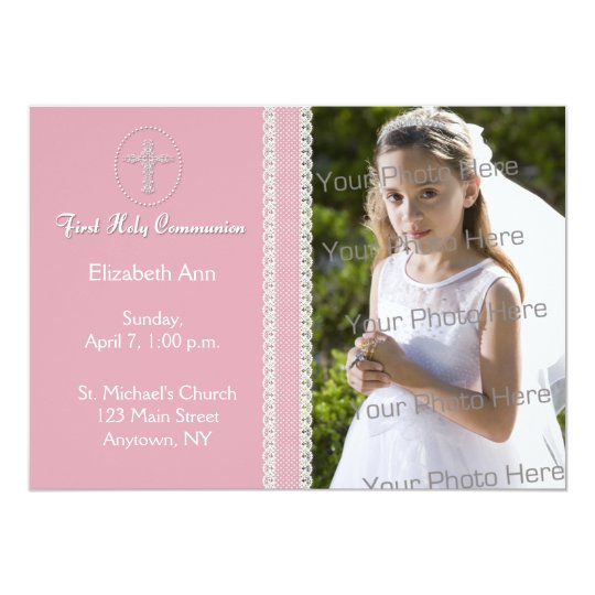 First Holy Communion, PInk Ribbon Invitation