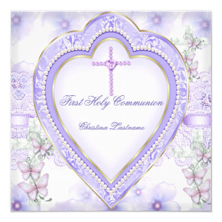 First Holy Communion Purple Pink Heart Girl 2 13 Cm X 13 Cm Square Invitation Card