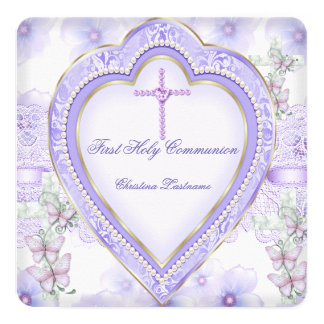 First Holy Communion Purple Pink Heart Girl 2 5.25x5.25 Square Paper Invitation Card