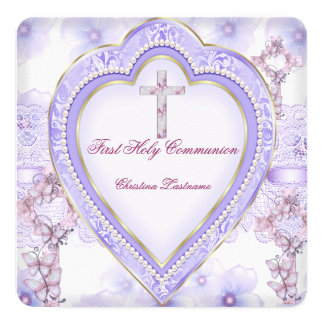 """First Holy Communion Purple Pink Heart Girl 5.25"""" Square Invitation Card"""