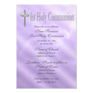 First holy communion purple religious 13 cm x 18 cm invitation card