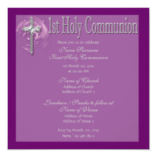 First holy communion purple religious 5.25x5.25 square paper invitation card