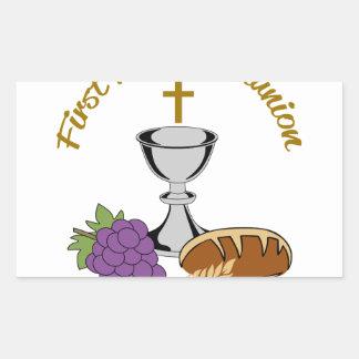FIRST HOLY COMMUNION RECTANGULAR STICKER