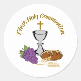 FIRST HOLY COMMUNION ROUND STICKER
