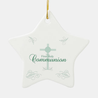 First Holy Communion, Script in Soft Green Christmas Ornament