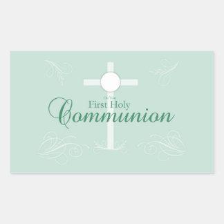 First Holy Communion, Script in Soft Green Rectangular Sticker