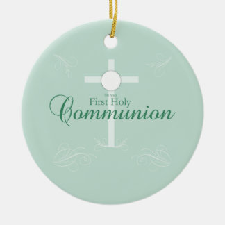 First Holy Communion, Script in Soft Green Round Ceramic Decoration
