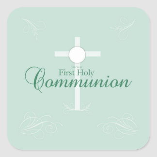 First Holy Communion, Script in Soft Green Square Sticker