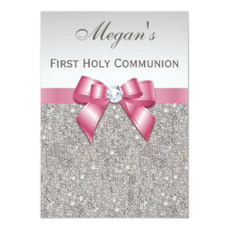 First Holy Communion Silver Jewels, Bow & Diamond 13 Cm X 18 Cm Invitation Card