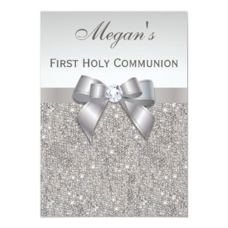 First Holy Communion Silver Jewels, Bow & Diamond Card