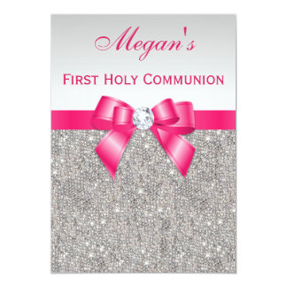 First Holy Communion Silver Jewels, Hot pink Bow 13 Cm X 18 Cm Invitation Card