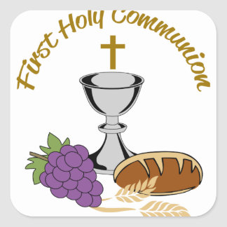 FIRST HOLY COMMUNION SQUARE STICKER