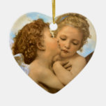 First Kiss by Bouguereau, Vintage Victorian Angels Christmas Ornament