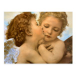 First Kiss by Bouguereau, Vintage Victorian Angels Post Card