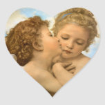 First Kiss by Bouguereau, Vintage Victorian Angels Stickers