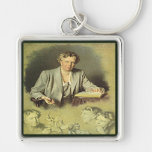 First Lady Anna Eleanor Roosevelt Silver-Colored Square Key Ring