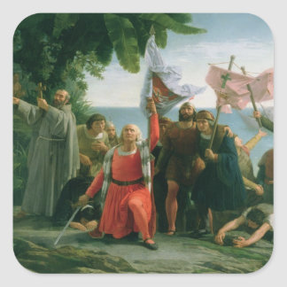 First Landing of Christopher Columbus in Square Sticker