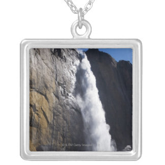 First light on Upper Yosemite Fall at peak flow Silver Plated Necklace