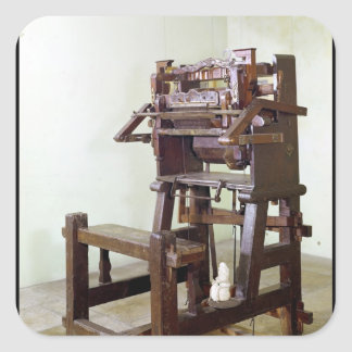 First loom for weaving stockings, 1750 square sticker