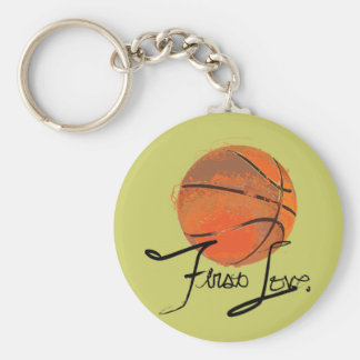 First Love: Basketball Basic Round Button Key Ring