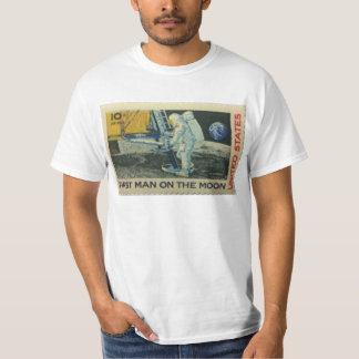 First Man on the Moon - Old Vintage Stamp T-Shirt