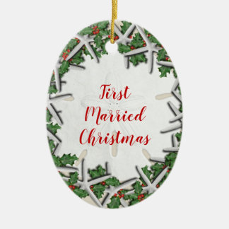 First Married Beach Christmas Double Sided Oval Christmas Ornament