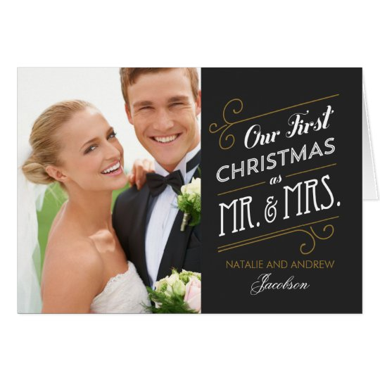 First Married Christmas Holiday Greeting Card