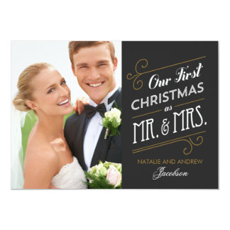 First Married Christmas Holiday Photo Card Custom Announcement