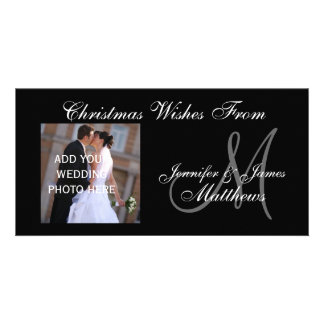 First Married Christmas Monogram PhotoCard Personalized Photo Card