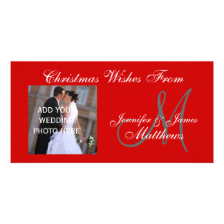 First Married Christmas Monogram Red Photo Card