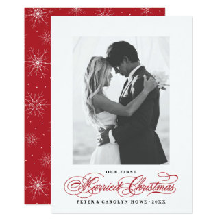 First Married Christmas Newlywed Photo Cards