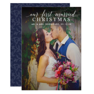 First Married Christmas | Script Photo Overlay Card
