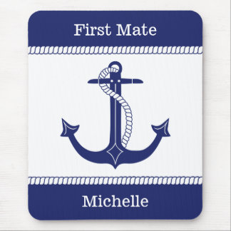 First Mate Anchor with Nautical Rope Add Name Mouse Mat